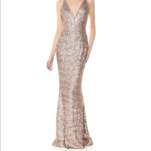 Gold sequined night gown